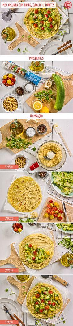 Piza grelhada com húmus, curgete e tomates, da edição de julho'16 da Continente Magazine. Veja a receita em: http://chef.continente.pt/receitas/piza-grelhada-com-humus-curgete-e-tomates