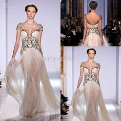Wholesale Evening Dresses - Buy Cap Sleeves Gold Appliqued Tulle Champagne Evening Dresses Zuhair Murad Haute Couture Spring 2014 Backless Babyonline Pageant Dresses, $175.09 | DHgate