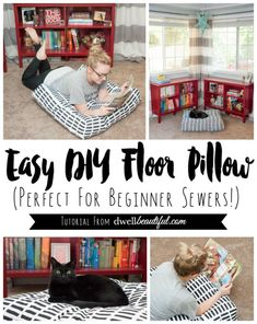 Artek Fabric DIY Floor Pillow7 Comfy DIY Giant Floor Pillows   Giant floor pillows  Floor  . Easy Diy Floor Pillows. Home Design Ideas