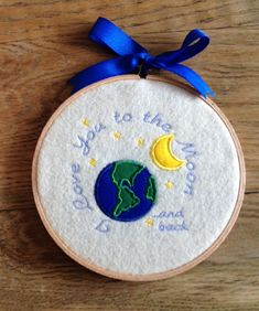Appliqued and Embroidered I Love You To The Moon And Back Hoop Art Wall Hanging Decor Plaque Sign ~ Nursery Toddler Decor