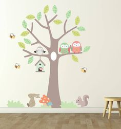 A lovely owl tree wall stickers using on trend pastel colours, perfect for children's bedrooms and nurseries.We have stickers for the bedroom, hallway living room, kitchen, bathroom and every room in between. Our wall stickers are also suitable for most clean smooth surfaces.Crafted from premium matte vinyl that is re positionable and reusable. As well as durable our children's wall stickers are wipe clean so hygenic too. Perfect for children of all ages we have also made these really simple…