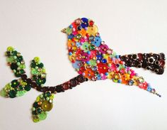 Button art - button bird on twig. Love birds. Love buttons. Yay.