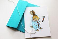 Little Bunny Blue Card by marikapaz on Etsy