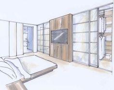 Schiebestangen Loft Closet, Closet Bedroom, One Bedroom, Master Bedroom Plans, One Room Apartment, Apartment Interior, Bedroom Bed Design, Bedroom Decor, Modern House Colors
