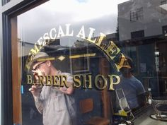 23k gilded window for the fine gentlemen of the Temescal Alley Barber Shop