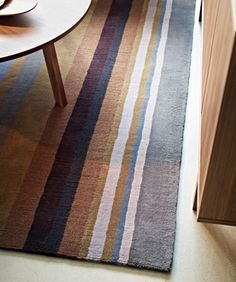 Carpets  Close-up of STOCKHOLM striped brown low pile rug in 100% wool