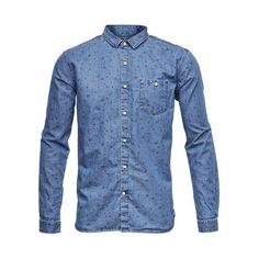 Denim Chambray Shirt W/Allover Print - GOTS, grön