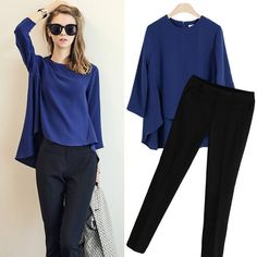 2016 New Fashion Summer Pant Set Women Suit Two-piece Suits Female Trouser Sets Chiffon shirt Casual tops  Plus Size