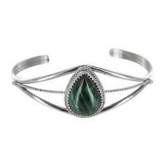 Sterling Silver Malachite Pear Rope Cuff Bracelet