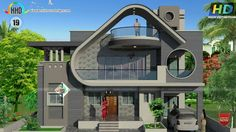 2100 square feet, 4 bedroom unique modern house architecture by Bhagwan S. Two Story House Design, Best Modern House Design, Modern Exterior House Designs, Modern House Facades, Classic House Design, Bungalow House Design, House Front Design, Modern Architecture House, Unique House Plans