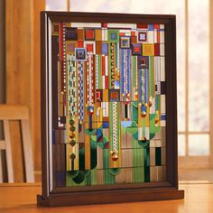 too small, in the right size it would look great!  not been able to find any prints or any larger ones as of yet.   Saguaro Stained Glass- Frank Lloyd Wright