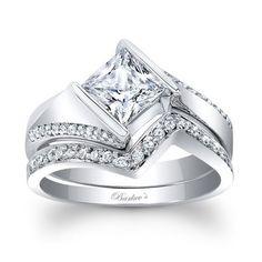 Barkev's Designer 14k White Gold 1 1/3ct TDW Princess-cut Diamond Bridal Set Ring (F-G, SI1-SI2)