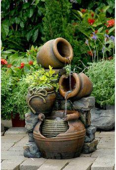 Jeco Inc. Resin/Fiberglass Multi Pots Fountain Garden Water Fountains, Outdoor Fountains, Small Fountains, Fountain Garden, Fountain Design, Front Yard Fountains, Patio Water Fountain, Dog Fountain, Barrel Fountain