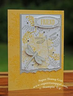 hand crafted card ... color challenge: gray, yellow, white ... luf the collage style sttampin on the main panel ... torn edg ... tone on tone background stamping ... like it! ,,, Stampin' Up!