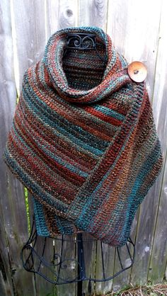 Crocheted wrap in colors of Arizona with brown button   ~t~