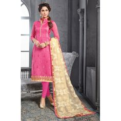 Chanderi Cotton Light Pink Churidar Suit Dress Material - 16517