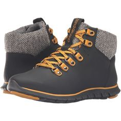 Cole Haan Zerogrand Hiker Boot (Black Leather/Natural Tweed/Black) Women's Hiking Boots featuring polyvore, women's fashion, shoes, boots, black, black leather shoes, faux-fur boots, cole haan boots, leather hiking boots and wide boots