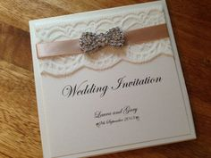 Handmade Wedding Invitation Pocketfold Tuscany, Lace, Vintage, Luxury - Any Colour