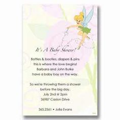 Disney Tinker Bell Fairy Baby Shower Invitations Showers Parties