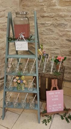 Wedding Decor and Styling by The Little Wedding Helper; perfect for couples who want their wedding decoration to shine. Wedding Crates, Ladder Wedding, Rustic Wedding, Our Wedding, Wedding Ideas, Vintage Ladder, Vintage Props, Wooden Ladder Decor, Hens Party Themes