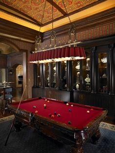www.fopaky.com Google: luxury pool table light Home Design: Mediterranean Home Billiard Room