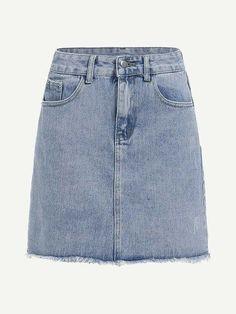 Shop Bleach Wash Raw Hem Denim Skirt at ROMWE, discover more fashion styles online. Bodycon Fashion, Skirt Fashion, Romwe, Fall Dresses, Casual Dresses, Denim Skirts Online, Jean Délavé, Body Con, Skirt
