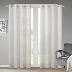 Madison Park Vera Geometric Burnout Sheer Curtain, White