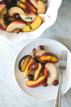 Stone Fruit Salad with Vanilla Honey Syrup. Gluten-free, grain-free and refined-sugar free. It's the perfect healthy, summer side dish!