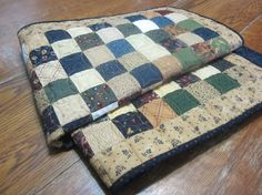 Primitive Table Quilt  622 by ApolloHillsCrafts on Etsy (Home & Living, Kitchen & Dining, Linens, Table Linens, Tablecloths, table cover, quilted, team wist, quiltsy team, blue, figure eight, green, red, tan, primitive, handmade, table quilt, gift)