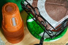 Football party idea- Football plastic cups, napkins, and plates #onebuyforall #shop #cbias