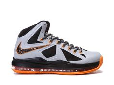 Nike LeBron 10 Booed Silver Orange Black Style Code:541100-100 It features a