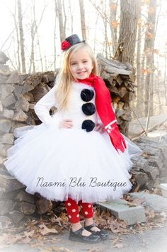 4pc Frosty the Snowman Christmas Set. Includes Mini top hat, embroidered scarf, top and tutu. For photos, Holiday parties, Costumes