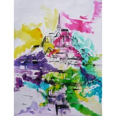 Encre de couleur de Chenel, Titre : Le Mont Saint-Michel, Format : 65 x 50 cm