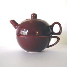 Vintage Stacking 3 Piece Burgundy Ceramic Tea Pot ~