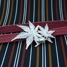 Japanese Autumn[Maple] Leaves and Acorn Obidome Brooch of Silver, made in Japan