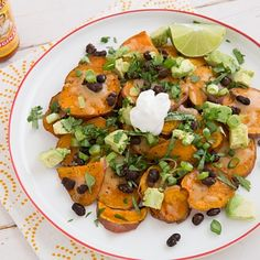 Loaded Sweet Potato Nachos (This website is the holy grail of vegetarian recipes. Weekly menu plans with shopping lists!)