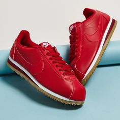 bd73cd9a9c72 Nike Classic Cortez Trainers In Red Leather With Gum Sole - Red