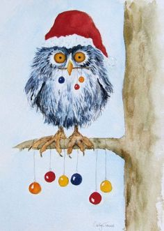 Buy Christmas Owl, Watercolour by Carolyn Towers on Artfinder. Discover thousands of other original paintings, prints, sculptures and photography from independent artists.