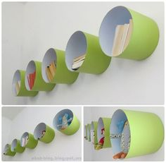 Shelves made with paint bucket. I THINK i WILL PLACE THEM CLOSER TOGETHER AND PLACE A SHELF ON TOP.