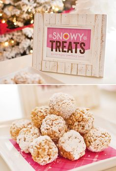Rice Krispies Snow Balls .  So many cute elements to use at a ton of different parties.  Think easter, winter, bday...