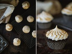 Bourbon Chocolate Cupcakes - chocolate chip cupcakes filled with bourbon pastry cream and topped with Italian merengue Dark Chocolate Cupcakes, Dark Chocolate Chips, Chocolate Desserts, Chocolate Cherry, Cupcake Recipes, Cupcake Cakes, Yummy Treats, Sweet Treats, Beaux Desserts