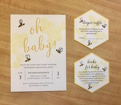 This BABY BEE BABY SHOWER INVITATION is perfect for your baby shower soiree! Gorgeous yellow honey comb and sweet little honey bees make this invitation truly buzz worthy. Perfect for Spring or Summer or Fall! Included with the invitation is a matching honeycomb DIAPER RAFFLE INSERT & BOOK REQUEST