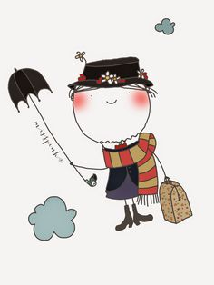 Miss Mary Poppins Mary Poppins, Children's Book Illustration, Graphic Design Illustration, Under My Umbrella, Cute Images, Clipart, Rock Art, Cute Art, Painted Rocks