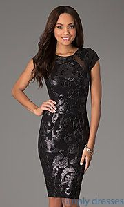 Buy Knee Length Sequin Dress with Short Sleeves at SimplyDresses