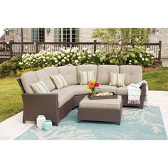 Hampton Bay Tacana 4-Piece Wicker Patio Sectional Set with Beige Cushions-FRS80413GL-ST - The Home Depot