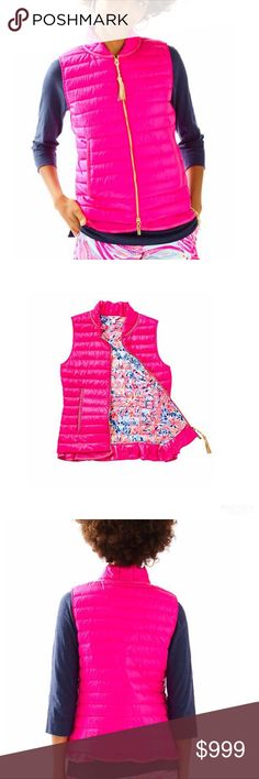 New Lilly Pulitzer Cora Down Vest Pink Lilly Pulitzer Cora Down Vest In Pink. New with tags! Size small. Perfect for fall / colder weather! No longer available in stores. Lilly Pulitzer Jackets & Coats Vests