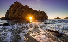 Amazing Scene of Pfeiffer Beach Stone Sunset in California USA Wallpapers