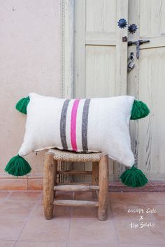 EmmaxCate & The Souks  berber pompom pillow door EmmaCateTheSouks