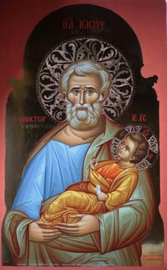 Unusual icon of Saint Joseph Religious Images, Religious Icons, Religious Art, Byzantine Icons, Byzantine Art, Religion Catolica, Religious Paintings, Blessed Mother Mary, Biblical Art