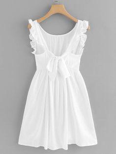 Indie Fashion Frill Trim Knot Back Dress Cute Dresses, Casual Dresses, Short Dresses, Fashion Dresses, Girls Dresses, Summer Dresses, Fashion Clothes, Mode Outfits, Retro Outfits
